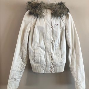 Cream Hollister Jacket with faux fur lining & trim